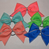 The Skylar - Bright Colored Cheer Bow with Rhinestone