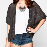 Polly & Esther  Open Weave Womens Cocoon Sweater Grey  In Sizes