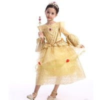 Retail Belle Princess New Year Kids Girl Beauty And Beast Cosplay Dress carnival costume Christmas Halloween Costumes SMR005