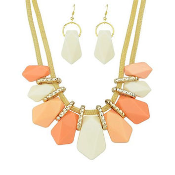 Sweet Candy Color Geometric Beads Necklace And Earrings
