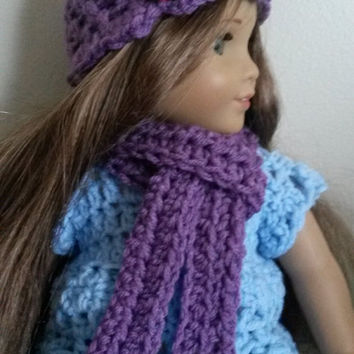 "Purple hat and scarf set for 18"" dolls (American Girl, flower, pink, doll, winter)"