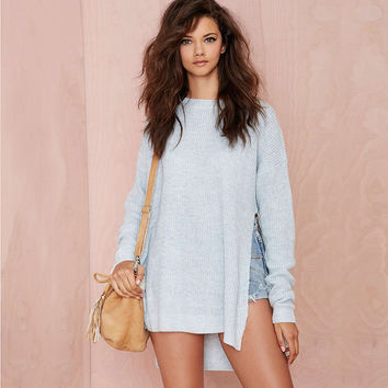 Light Blue Long Sleeves  High-Low Side Slit  Knitted Pullover Sweater
