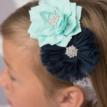 Aqua flower headband - Navy elastic headband | Flower girl gift