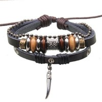 Silver Metal Shark Tooth Dagger Point Charm Pendant on Handmade Leather Infinity Bracelet with Silver and Bead Details