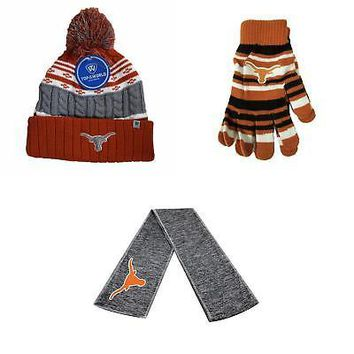 Licensed NCAA Texas Longhorns Glove Solid Knit Altitude Beanie Hat And Hail Scarf 06109 KO_19_1
