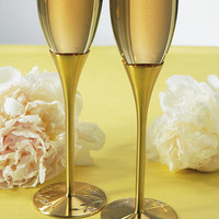 Venice Gold Toasting Flutes With Swarovski Crystals