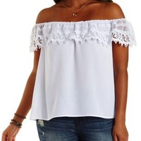 Plus Size Crochet Off-the-Shoulder Flounce Top