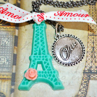 Eiffel tower necklace- french words necklace- oui necklace- valentine's day necklace- unique gift for her