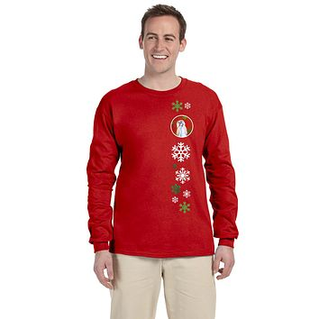Shih Tzu Red Snowflakes  Long Sleeve Red Unisex Tshirt Adult Medium SS4672-LS-RED-M