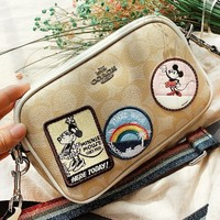 COACH & Mickey Mouse New fashion pattern leather shoulder bag crossbody bag