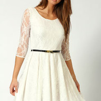 Tiffany Lace Skater 3/4 Sleeve Skater Dress