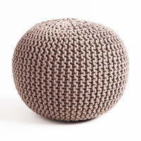 Cable Knit Pouf - Gray