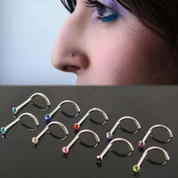 Bluelans 10Pcs Mixd Color Rhinestone Hook Bone Bar Pin Piercing Jewelry Nose Studs Rings