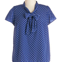 ModCloth Short Sleeves Tie for First Top in Dotted Navy - Plus