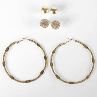 Women's Hoop & Stud Earring Set in Gold by Daytrip.