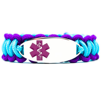 Personalized Thin Kids Medical Alert ID Paracord Bracelet w/ Oval Stainless Steel Engraved ID Tag - Purple Medical Symbol