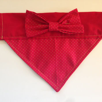 Dog Bandana - Gold and Red Polka Dot with Bow