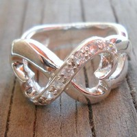 Infinity Hearts Silver Plated Zirconium Ring Size 8