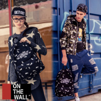 """Vans""Fashion Personality printing large capacity backpack bag leisure travel boom Black and white fish (7 style)"