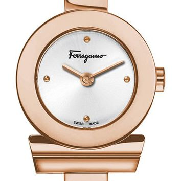 Women's Salvatore Ferragamo 'Gancino' Bracelet Watch, 22mm - Rose Gold
