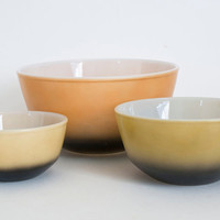 Unusual Fire King Earth Tone Black Ombre Mixing Bowls, Set of Three Nesting Bowls, Green Orange Tan