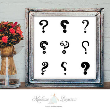 Printable Art Question Mark Typographic art print Letter art Alphabet art print Minimalist art Zen art print instant download art prints