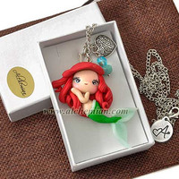 Ariel mermaid Disney character necklace handmade handmolded in polymer clay