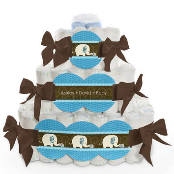 Blue Baby Elephant - Personalized Baby Shower Square Diaper Cakes - 3 Tier