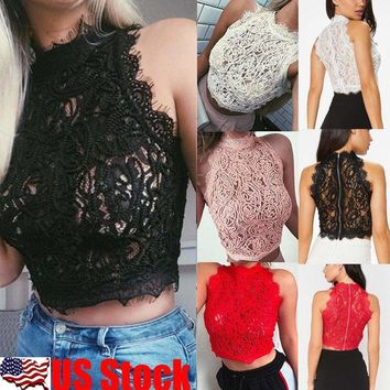 Women Summer Lace Sleeveless Vest Top Shirt Blouse Casual Tank Crop Tops T-Shirt