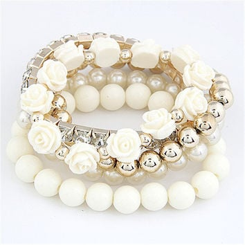 Mix flower beads stretch bracelet temperament fashion bangle bead bracelet
