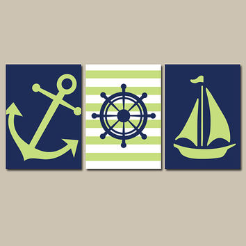 Nautical Wall Art Nursery Bathroom Canvas Navy Blue Red Preppy Artwork Ocean Girl Boy Anchor Boat Wheel Pick Colors Set of 3 Prints Three