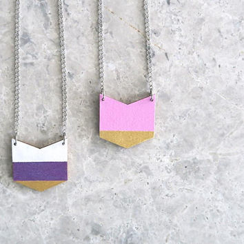 Wood Chevron Necklace, 5th Anniversary Gift, Hand Painted Wooden Pendant, Simple Geometric Necklace, White Purple Gold Pink Jewelry