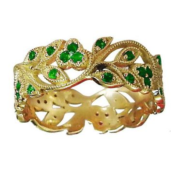 18K Yellow gold Leaves Band Emerald Filigree Ring Milgrain Twig Ring