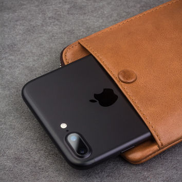 Wallet Cover for iphone 7 & iPhone 7 plus Handmade Genuine Leather Case for iPhone 7 slots for cards