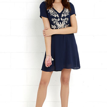 Paper Moon Navy Blue Embroidered Dress