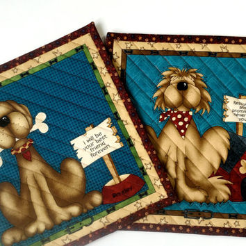 Dog Mug Rug Quilted - Handmade Patchwork Quilt  Man's Best Friend Mats  Set of 2 Adopt a Mutt  Dog Lovers Gift  Rescue Dogs  Quilts for Sale