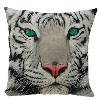 Cushion Cover Watercolor Tiger Cushion Cotton Linen Animal Tiger Decorative Sofa Bedroom Office Home Throw Pillow Cover