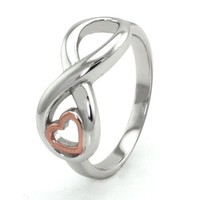 Tioneer Sterling Silver Infinity Ring w/ Rose Gold Heart