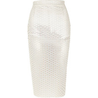 River Island Womens Cream leather-look punched pencil skirt