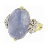 Oval Rose Cut Blue Sapphire Daisy Ring - Cathy Waterman - Polyvore
