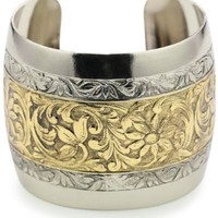 1928 Jewelry Patterned Silver-Tone and Gold-Tone Cuff Bracelet