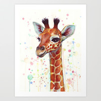 Baby Giraffe Watercolor Painting, Cute Animals Art Print by Olechka