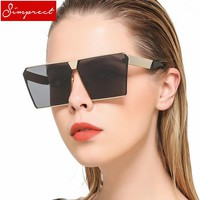 SIMPRECT 2018 Oversized Square Sunglasses Women UV400 Mirror Metal Sun Glasses Brand Designer Vintage Lunette De Soleil Femme