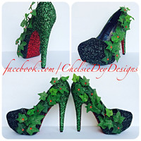 Poison Ivy Inspired Cosplay Comic Con Glitter High Heels
