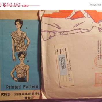 Sale Uncut Reader Mail Sewing Pattern, 9292! Size 42 XL/XXL/Plus Size/Women's/Misses/Loose Fitting Tops/Extended Shoulder Shirt/Short Sleeve