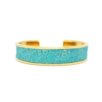 Turquoise Gold Metallic Leather Bracelet Cuff Narrow
