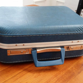 Vintage Blue Overnight Hardside JC Penney Luggage Suit Case Great Travel Retro Style Decor Repurpose