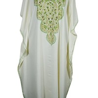 Mogul Womens Kashmiri Caftan Floral Embroidered Evening Kaftan Cover Up Maxi Dress