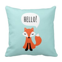 Cute cartoon fox on blue background saying hello throw pillow