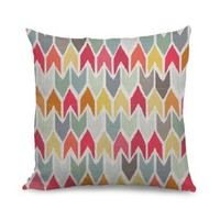 Wendana 18 x 18 Inches Colorful Arrow Faux Linen Throw Pillow Covers Cushion Cover for Sofa Pillow